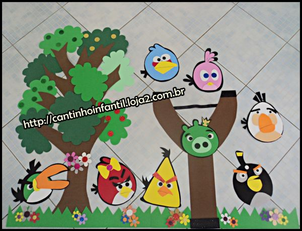 Angry birds painel fundo de sala cantinho infantil for Angry bird mural